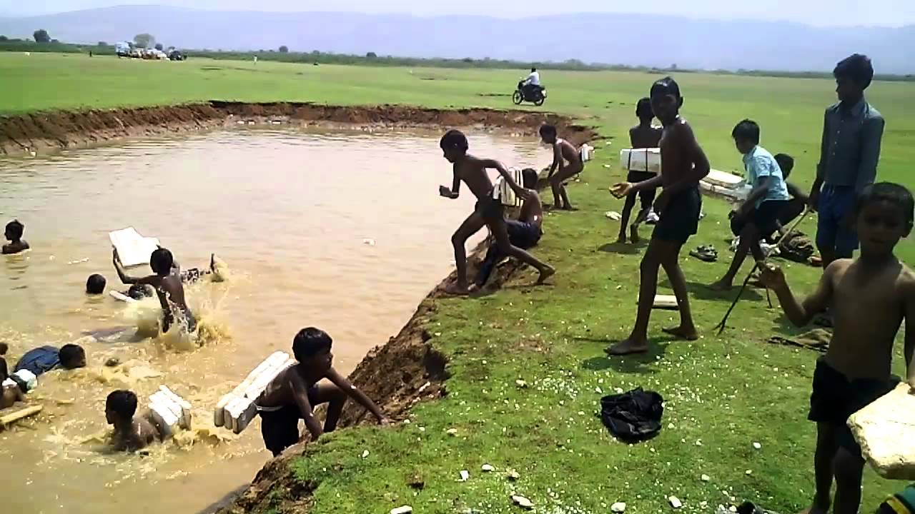 Image result for village kids and pond