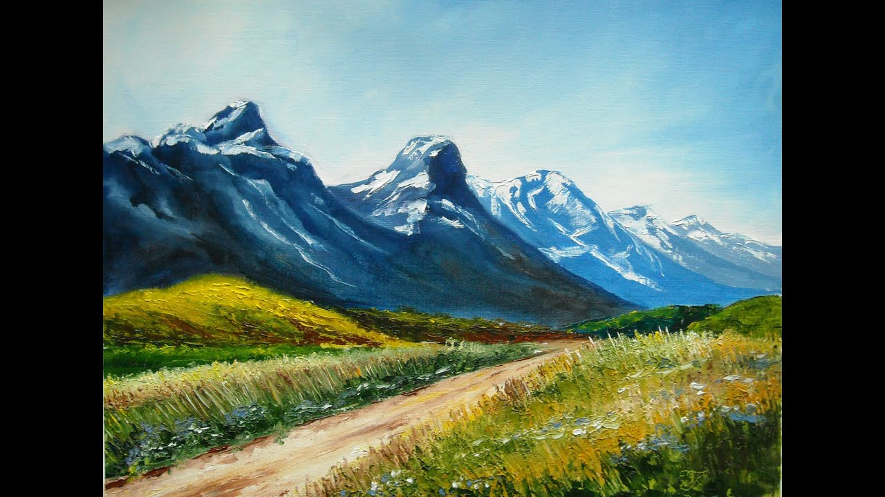 """Oil Painting Lana Kanyo """"landscape With Mountains"""""""