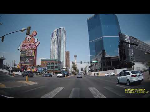 Driving on the Las Vegas Strip at day and on night, July 11, 2017