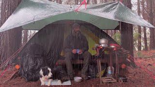 Heavy rain CAMPING in a TENT with bushcraft