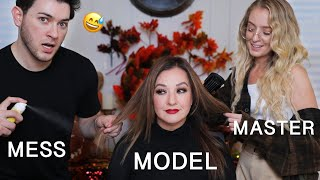 Hairdresser Reacts to Me Doing My Moms Hair... Its A Disaster