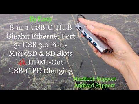USB C OTG 8 Port HUB, HDMI Screen Mirroring, Gigabit Ethernet & More