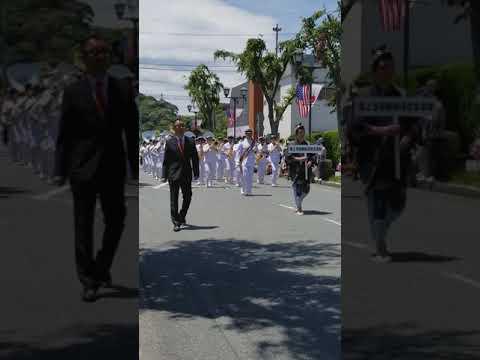 Japanese Maritime Self Defense Force JMSDF band on parade at Black Ship Festival 黒船祭り