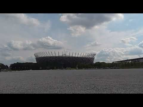 Amazing time lapse in Poland. Clouds over the National Stadion. Stadion Narodowy.