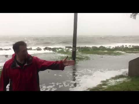 Ocean tide pushing toward St. Simons Island lighthouse