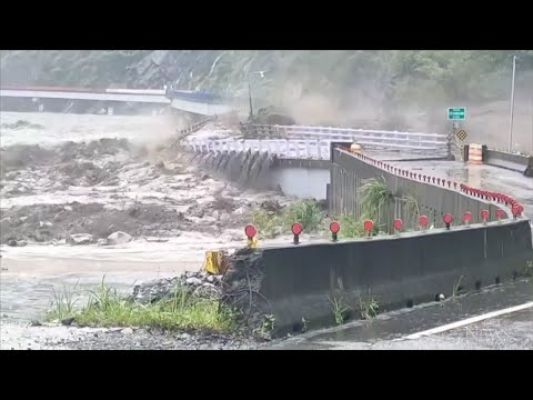 Taiwan bridge destroyed by floods