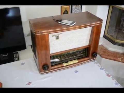 Vintage radio Olympia 562w (year 1956) restored, playing mp3