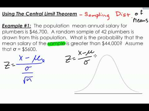 Finding Probability of a Sampling Distribution of Means Example 1 ...
