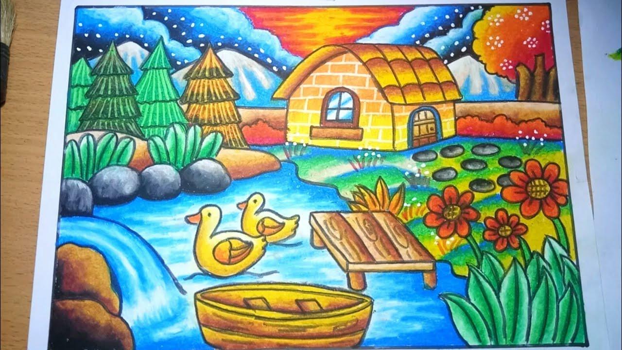 Mewarnai dengan crayon 12 warna  menggambar Pemandangan