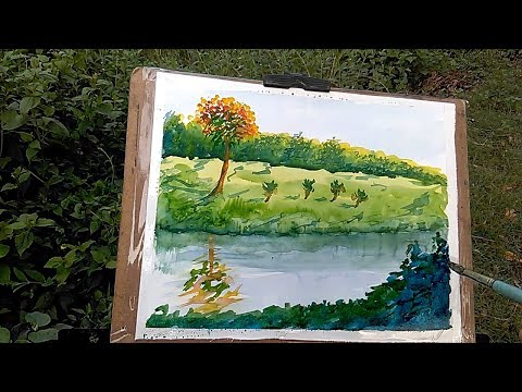How to Paint a Simple Landscape  For Beginners | outdoor painting