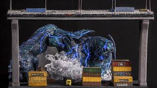 огромный атакующий Кайдзю // Вдохновляющая Диорама с Монстром