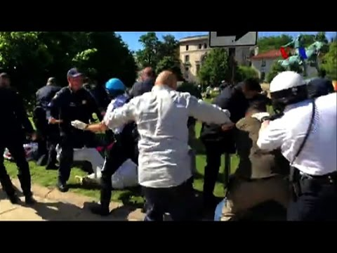 Protests turn violent outside Turkish embassy in Washington
