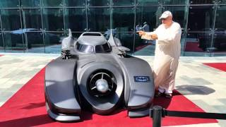 Prof. Dr. Norman Khalaf introducing the Batmobile from the Batman Movie (1989) in Dubai
