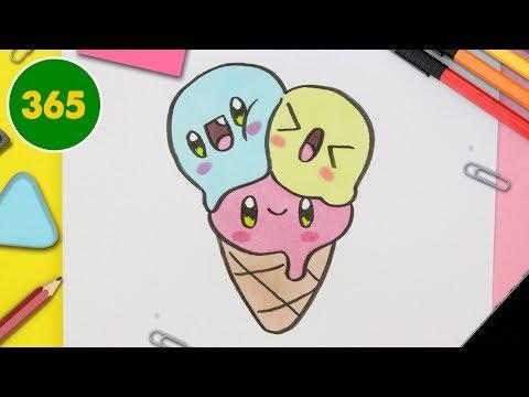 Comment Dessiner Crème Glacée Kawaii étape Par étape