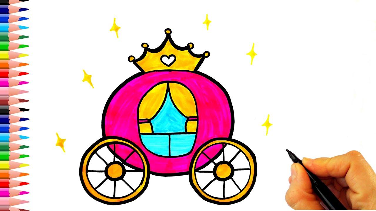 Sindirella Balkabağı Arabası Çizimi - Kolay Çizimler - Prenses Arabası Çizimi