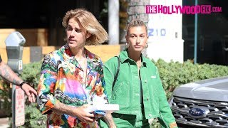 Justin Bieber & Hailey Baldwin Make A Colorful Couple For Sushi Lunch Date In Beverly Hills 8.30.18