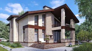 Проект двухэтажного дома. Дом с террасой, балконом и панорамными окнами. Ремстройсервис KR-202