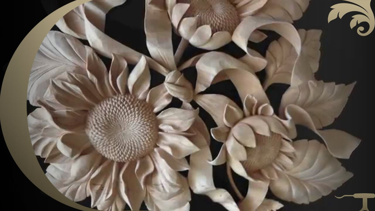Woodcarving Sunflowers Hand Carved Youtube
