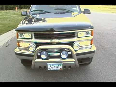 Custom 1999 Chevy Tahoe With Halos And Aftermarket Lights Review
