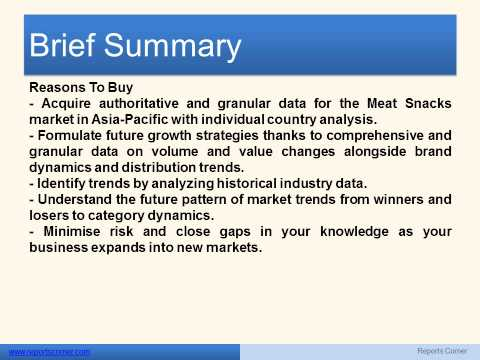 Meat Snacks Market in Asia Pacific Market Guide to 2017 - Reports Corner