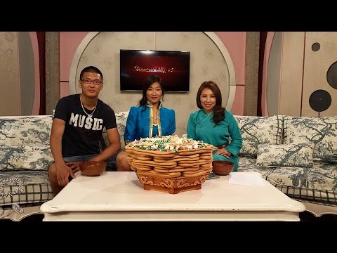 "Khulan Chuluun on Mongolian TV talk show ""Dotno sedev""."