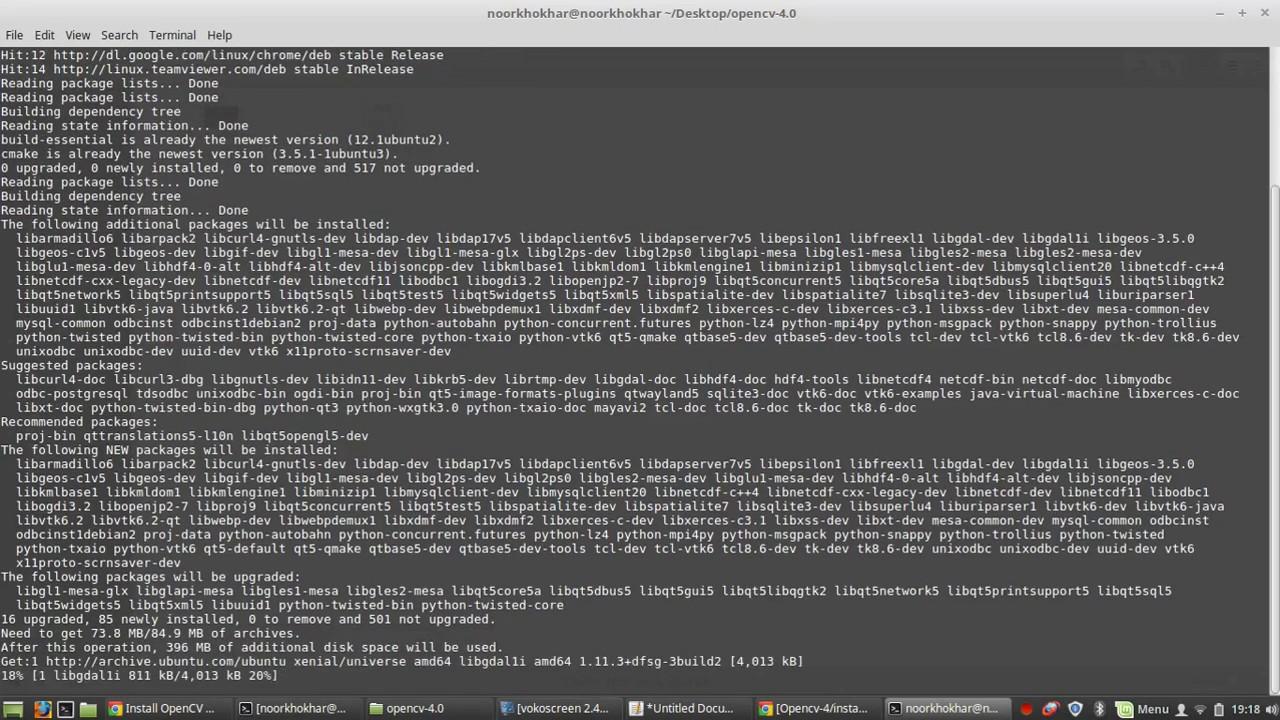install opencv 4 0 ubuntu/linux