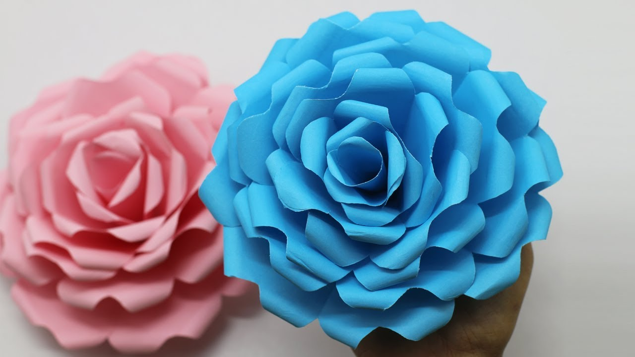 How To Make Beautiful Rose Paper Flower Backdrop Flowers Ideas Paper Rose Flower Easy Made