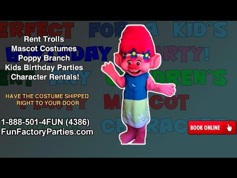 Rent Trolls Mascot Costumes Poppy Branch Kids Birthday Parties
