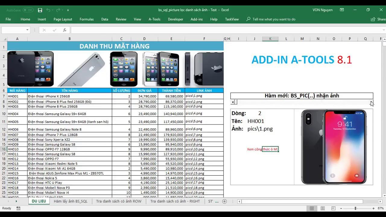 Test hàm BS_PIC (Hàm tự động chèn ảnh trong Excel và Add-in A-Tools)