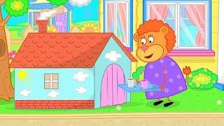 León de la Familia de los Niños de la Casa de dibujos animados para los Niños