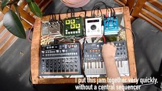 Simple setup jam w/ Arturia MicroFreak, DrumBrute Impact, OTO Bam, Strymon pedals, H9, PO-33