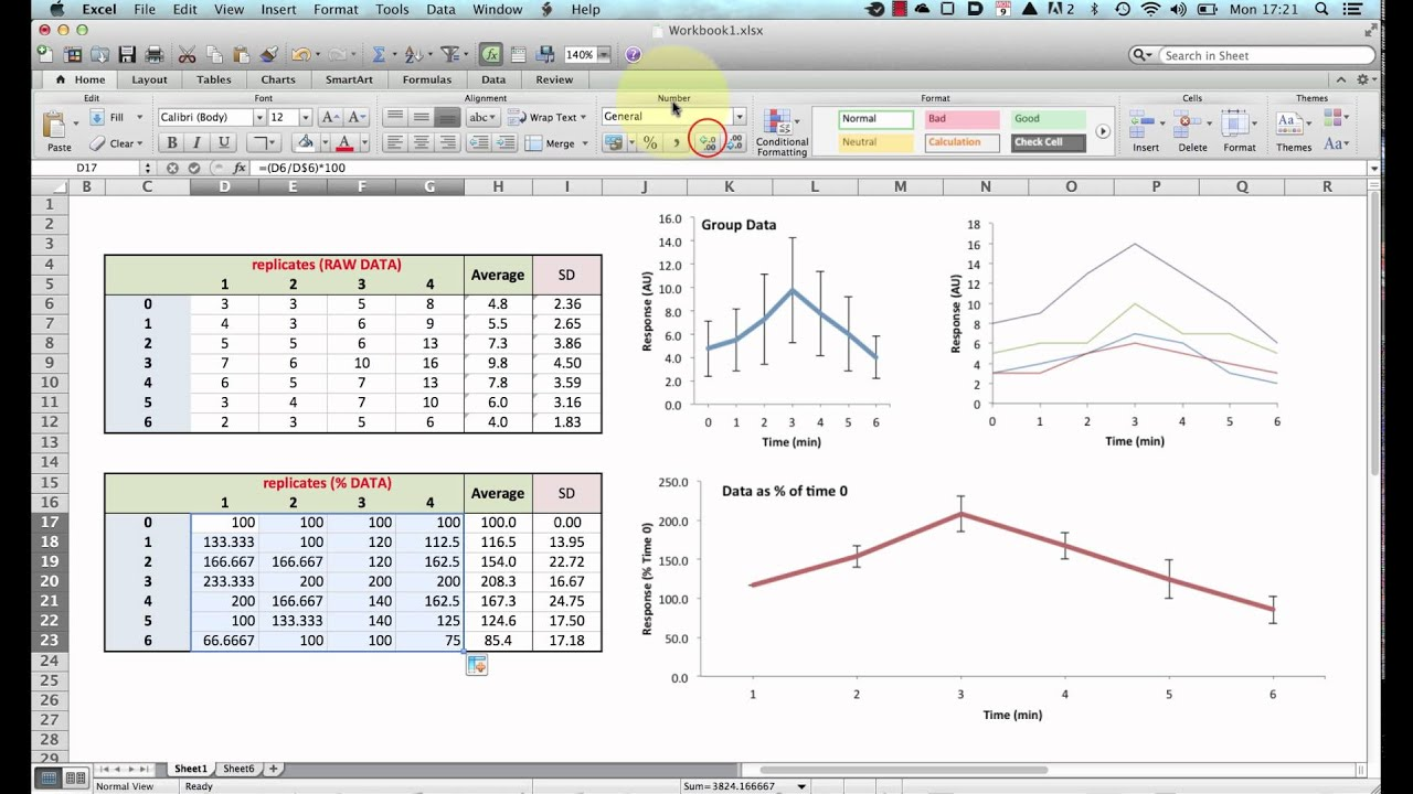 Normalising Data For Plotting Graphs In Excel
