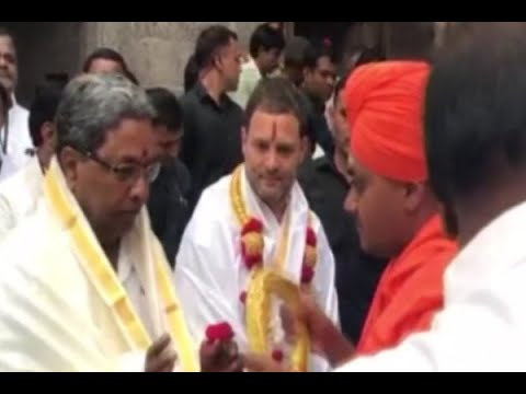 Rahul Gandhi appears in a different getup during his visit at Chikkamagaluru temple in Kar
