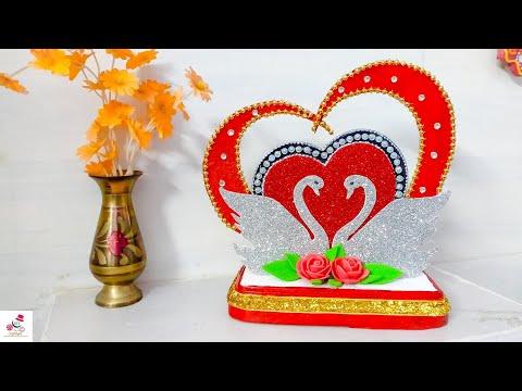 DIY Heart Showpiece Making At Home   Valentines Day Gift ideas 2019   DIY CraftsLane
