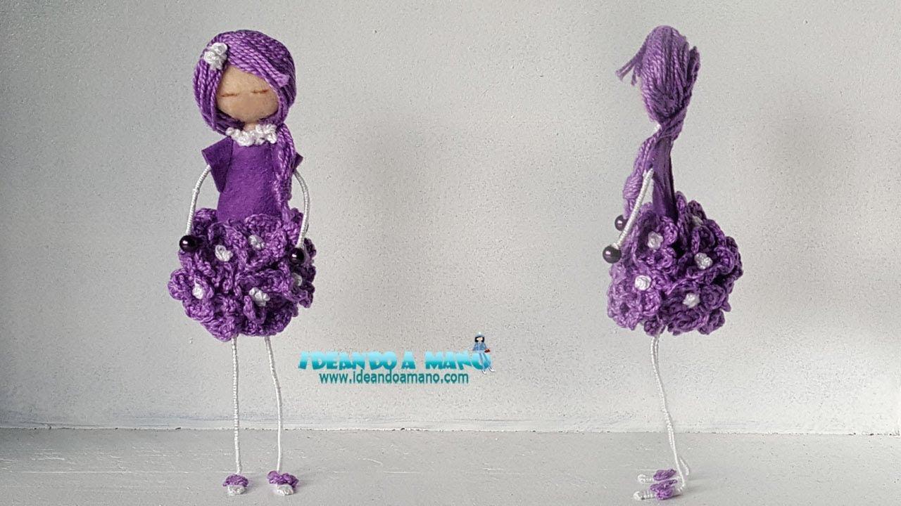 DIY muñeca flores de crochet - YouTube
