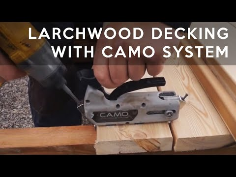 Larch decking boards fixed with CAMO invisible fasteners