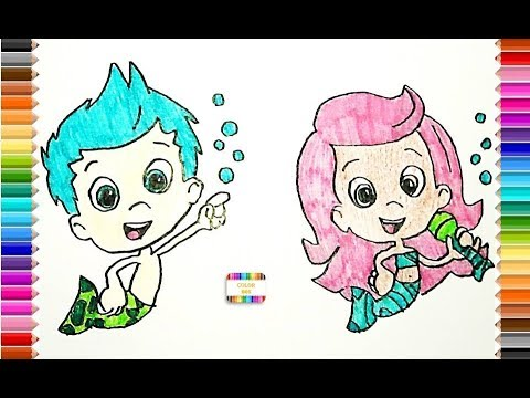 Dibujar y colorear Bubble Guppies, Molly y Gil - YouTube