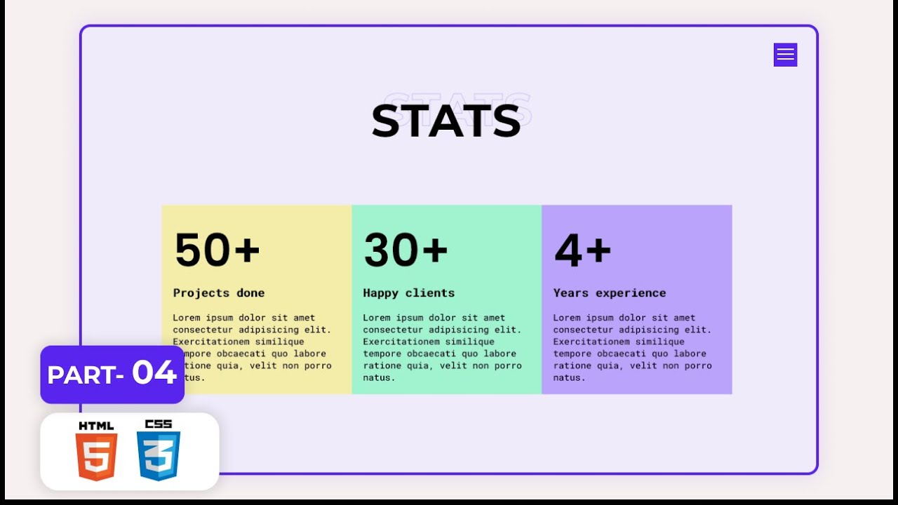 Portfolio Website Project for Practice | Part-04 | Stats Section | HTML & CSS Project