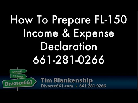 Completing California Divorce Income And Expense FL-150 - YouTube