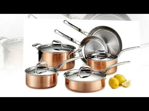 Lagostina Q554SA64 Martellata Tri-ply Hammered Stainless Steel Copper Oven Safe Cookware Set