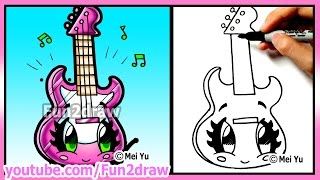 Learn to draw - Cute Guitar - Best Cartoon Art Lessons by Fun2draw - Back to School
