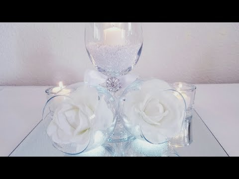 DIY | TILTED WINE GLASS CENTERPIECE | INEXPENSIVE FOR THOSE ON A BUDGET 2018