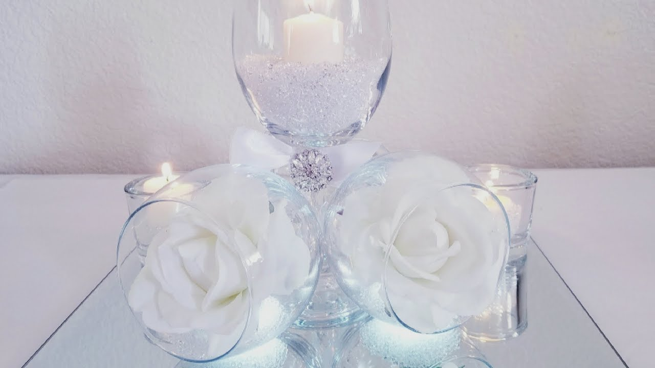 DIY | TILTED WINE GLASS CENTERPIECE | INEXPENSIVE FOR THOSE ON A ...