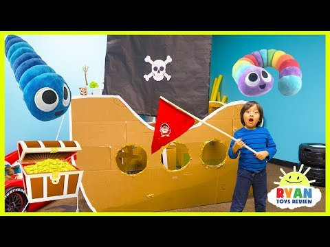 Ryan Pretend Play with Pirate Ship Box Fort and Hunt for Treasure!