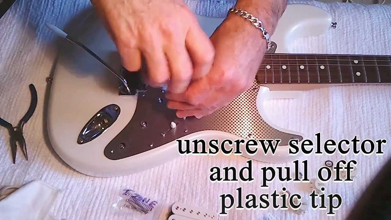 how to easy change a strat fender pickguard and replace pickup install humbucker wiring youtube [ 1280 x 720 Pixel ]