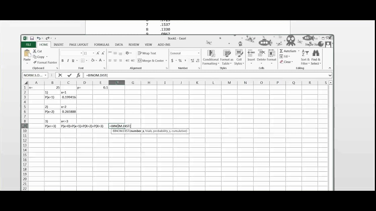 How to use Excel to calculate Probability for Binomial