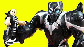 Playskool Heroes Black Panther Mech Robot Gets The Purple Power Sword From The Imaginext Ninjas