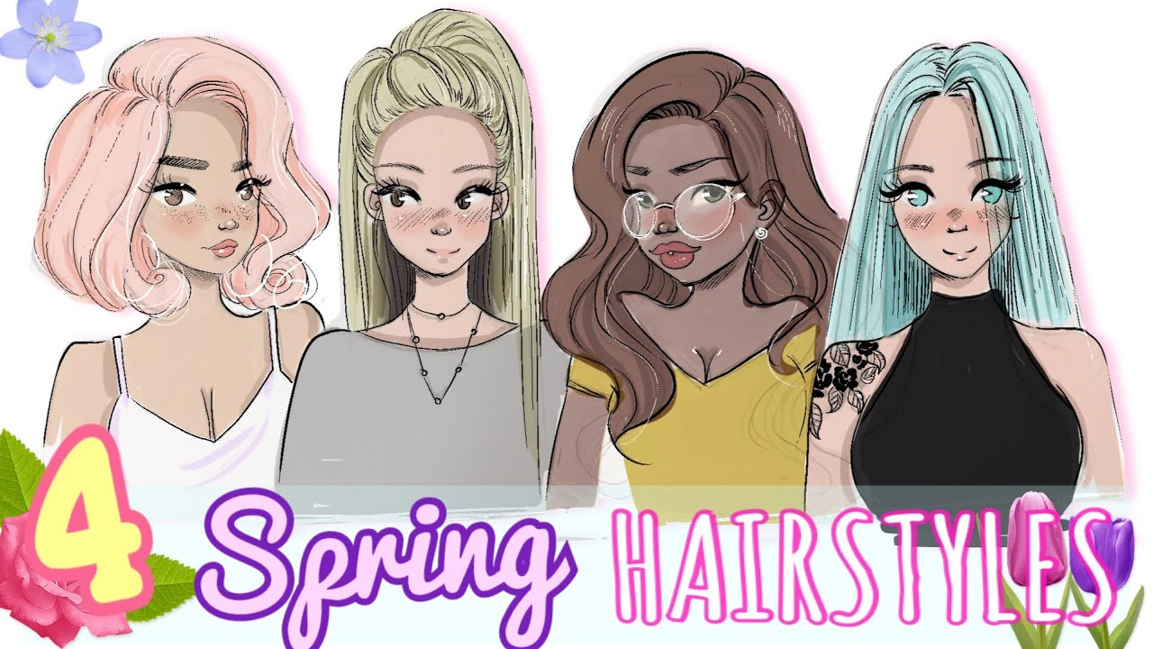 Hairstyle Drawings: 4 SPRING HAIRSTYLES 🌸 - YouTube