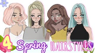 🌸  Draw & Color    4 SPRING HAIRSTYLES  🌸
