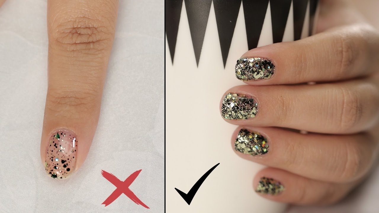 How To Apply Glitter Nail Polish Nail Painting Tips Youtube